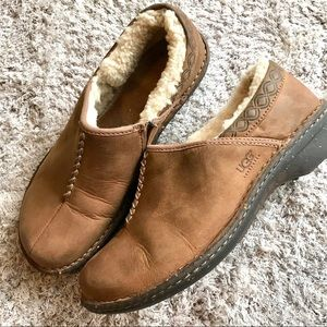 UGGS LEATHER SLIP Brown Uggs Betty Clogs Women